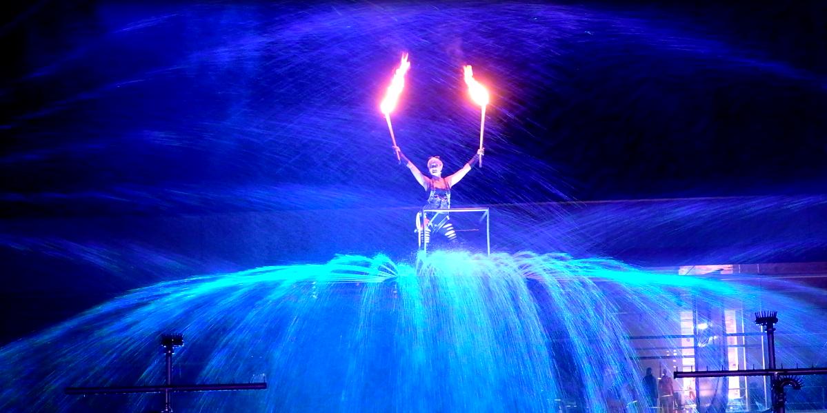 Feuershow und Wassershow für Events