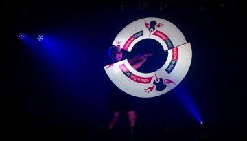 tanzshow-logo darstellen led-logoinszenierung-pixelpoi-visual art-ledshow-lichtshow mit grafik-lightshow-heidelberg